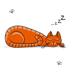 Cute sleeping cat sketch for your design vector