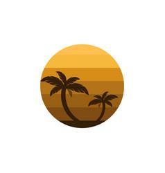 Design palm and sun logo summer sign or symbol vector