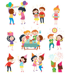 different scenes at the party vector image