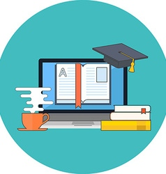 Distance education online learning concept Flat vector image