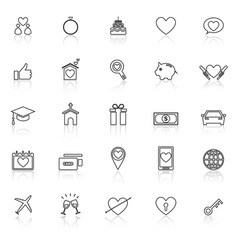family line icons with reflect on white background vector image
