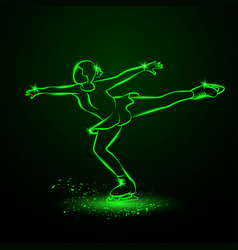 figure skating neon vector image