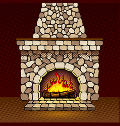 Fireplace at home pop art vector
