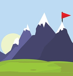Flag on mountain vector image