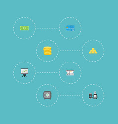 Flat icons money remote paying ingot and other vector