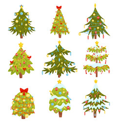 flat set christmas trees with different vector image