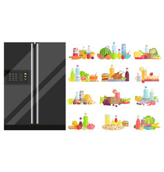 fridge with set dishes healthy nutrition vector image