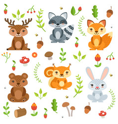 Funny forest animals and floral elements isolate vector