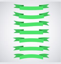 green ribbon banners set beautiful blank vector image