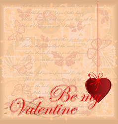 greeting card be my valentine vector image