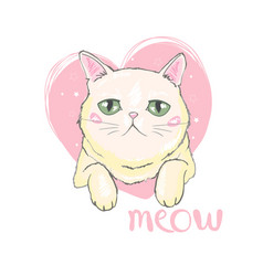 Hand drawn cute cats face saying hello isolated vector