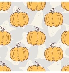 Hand drawn halloween pumpkins seamless pattern vector image