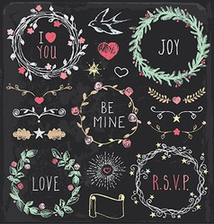 Hand drawn vintage chalkboard festive elements set vector