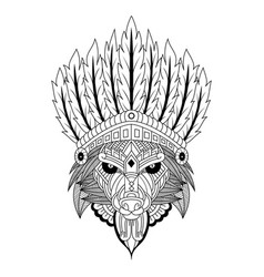 Hand drawn wolf tribal chief in entangle style vector