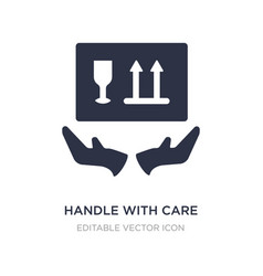 Handle with care icon on white background simple vector