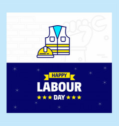 Happy labour day design with blue and yellow vector