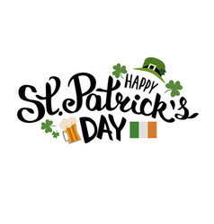 happy st patricks day lettering composition vector image