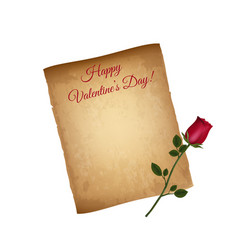 happy valentines day greeting card worn parchment vector image