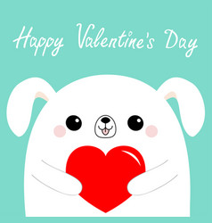 Happy valentines day white dog puppy head face vector