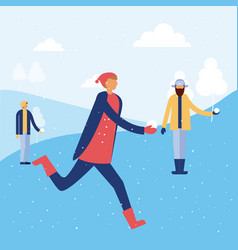 happy winter people vacation vector image