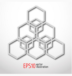 Hexagonal 3d design made in white plastic style vector