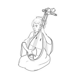 japanese girl playing a stringed musical vector image