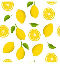 Lemon and slices of lemon pattern summer vector