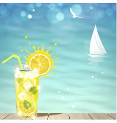 lemonade against blue sea vector image