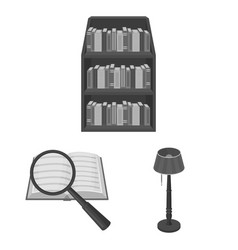 Library and bookstore monochrome icons in set vector