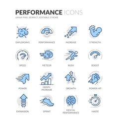 Line performance icons vector