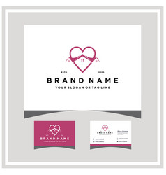 Love home logo design and business card vector