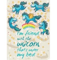 Magic card with cute unicorns cartoon vector