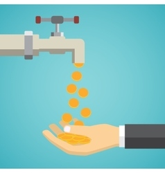Money flows from tap to hand vector