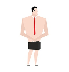 Naked businessman Man in tie and shoes Bankrupt vector image