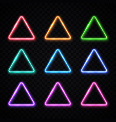 neon light triangles set on transparent background vector image