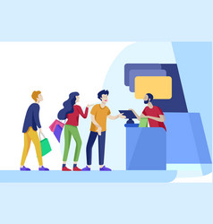 People shopping in supermarket woman in vector