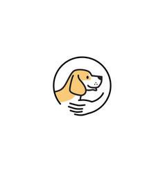 pet dog care human hand logo icon vector image