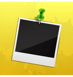 Photo on yellow wall fixed with green pin vector image