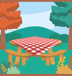 Picnic table in forest design vector