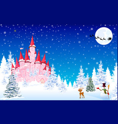 Pink castle snow forest night christmas vector