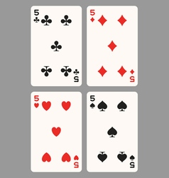 Playing cards five vector image