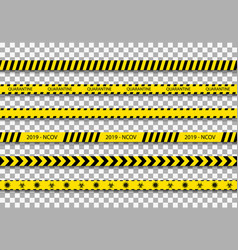 quarantine tape caution stripe for coronavirus vector image