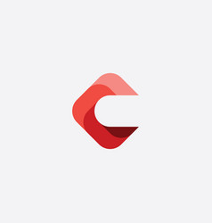 red geometric letter c icon sign element vector image