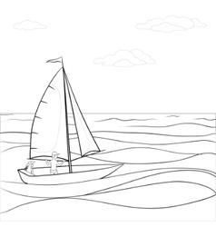 Sailing boat in sea contours vector