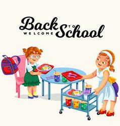 school dinner poster vector image