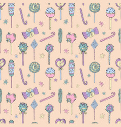 seamless pattern lollipops vector image