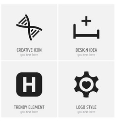 set of 4 editable hospital icons includes symbols vector image