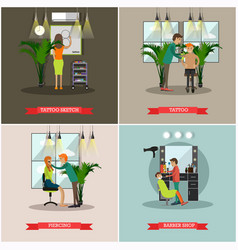 Set of barbershop and tattoo studio flat vector