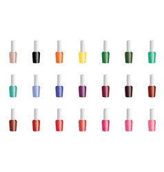 Set of color nail polish isolated on white vector