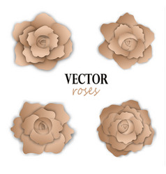 set of four paper golden roses vector image